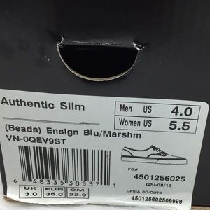 46499ad066 Vans Shoes - Vans Authentic Slim Beads Ensign Blue Marshmallow
